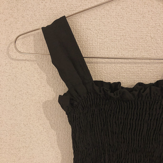 black gather  one-piece