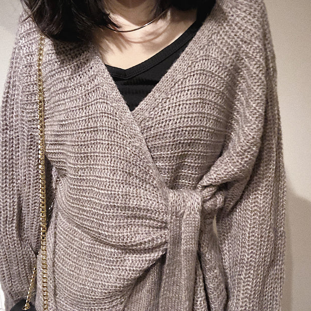 waist tied knit tops