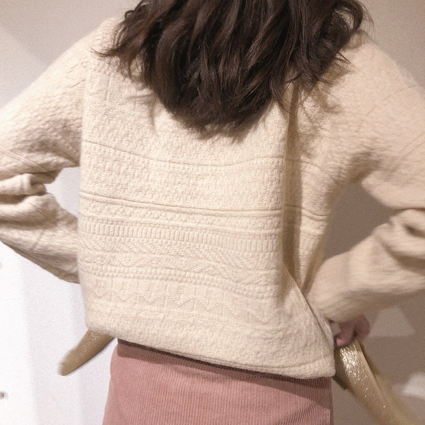 high neck wool knit・全2色