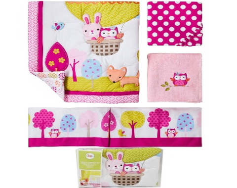 Circo Nursery Set 4pc Pink Bunny Up We Go Comforter
