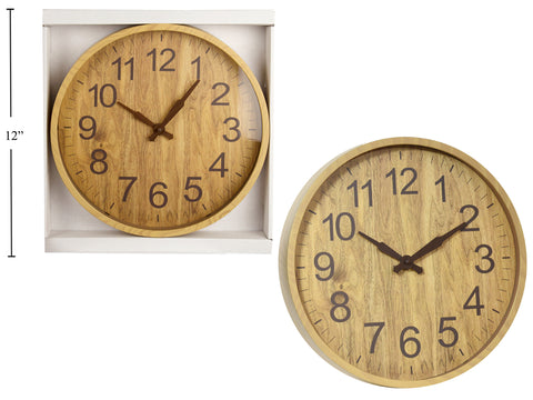 "12"" Wall Clock, Woodgrain Light"