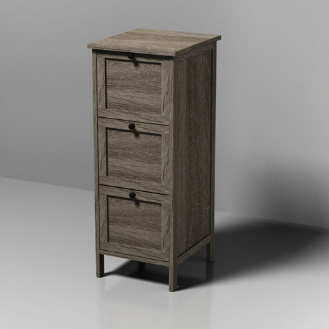 Grey MDF Cabinet With 3 Drawers