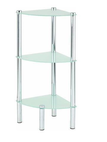 3 Tier Corner Frosted Glass Shelves