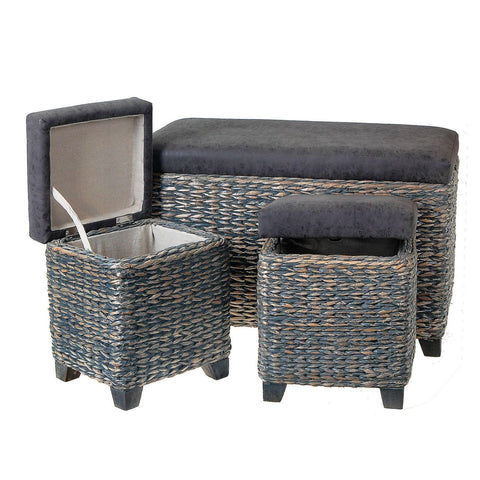 Grey Wicker Storage Ottoman With Pleather Seat