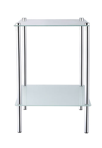 2 Tier Square Frosted Glass Side Table