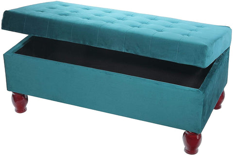 Velvet Tufted Storage Bench Ottoman (Teal)