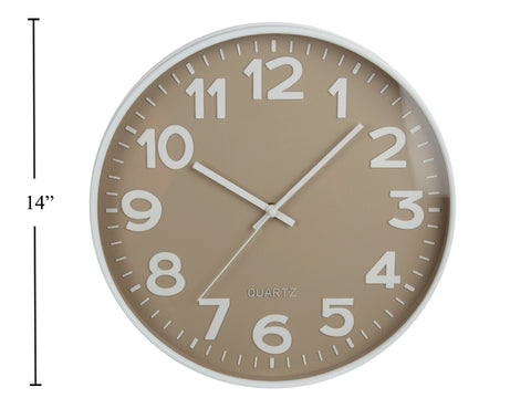 "14"" Wall Clock Taupe/White"