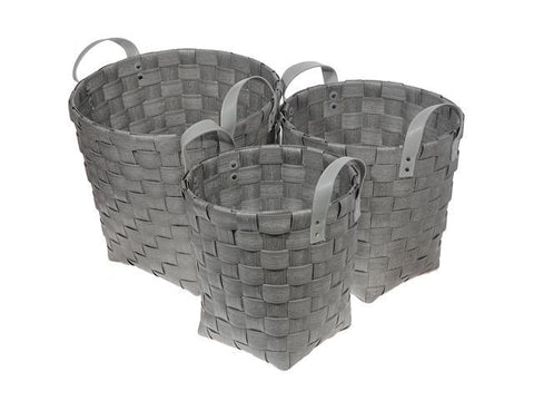 Round Nesting Basketweave Hamper With Handle (Gray)