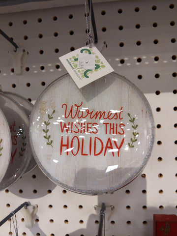 Warmest Wishes Holiday Ornament Glass