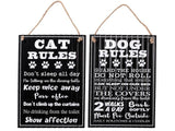 Rippled Metal Wall Sign (Dog/Cat Rules) (Asstd)