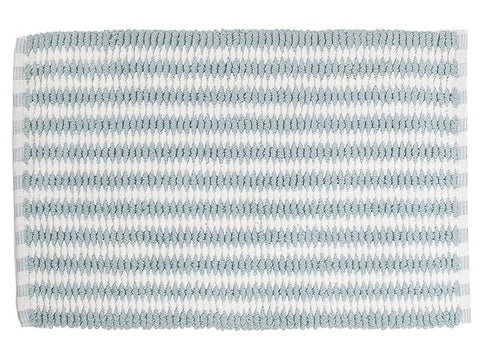 Handwoven Cross Weave Bath Mat (Blue/White) (20x32)