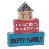 Happy Family Block Signs 3pc Set, Wood