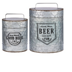 Galvanized Canister With Lid 2pc Set Iron