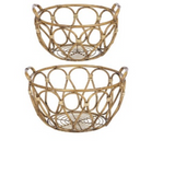 Faux Bamboo Round Basket 2pc Set Iron