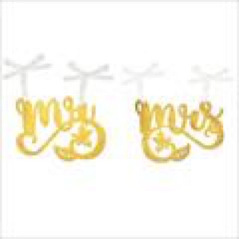 Mr Mrs Chair Sign 2pc Set Metal