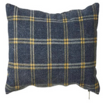 Lg Washed Bl & Yellow Plaid Pillow Cotton
