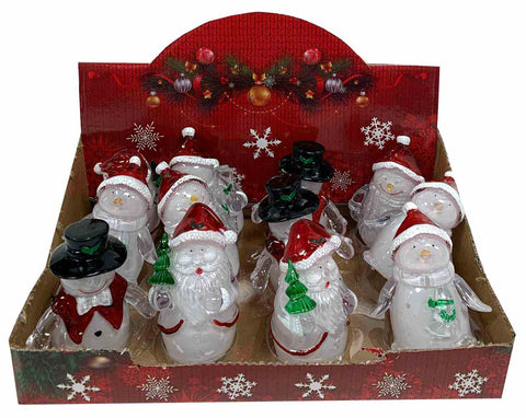 "Xmas LED Figures In Display - Colour Changing 3.25"" (4 Asst)"