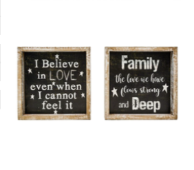 "8.25""x8.25"" Family/Believe Block Signs"