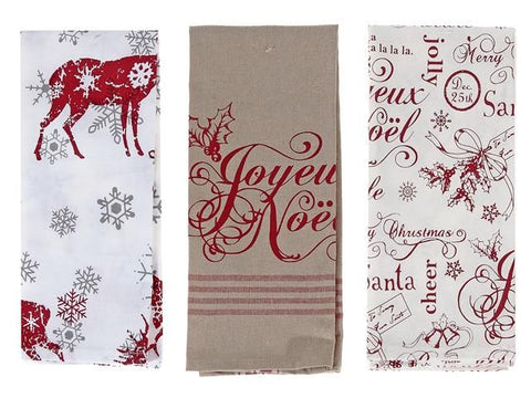 Printed Joyeux Noel Cotton Kitchen Towel (Asstd)
