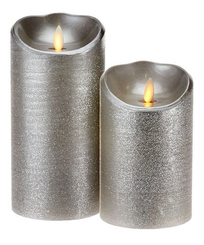 Gray 5'' & 7'' Spun Metallic Flameless Candles
