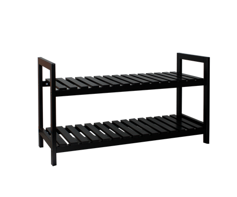 2 Tier MDF Shoe Rack, Black