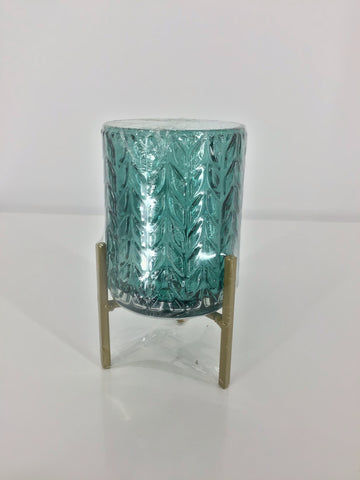 Glass Candle Holder w/ Metal Stand