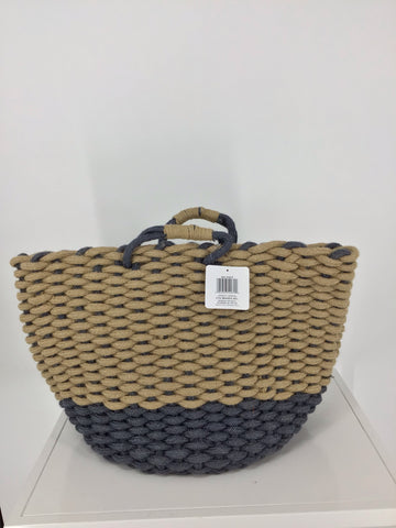 Chunky Jute Woven Storage Basket - Blue/Natural