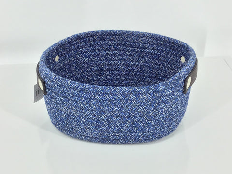 Oval Cotton Rope Basket With Handle (Navy)