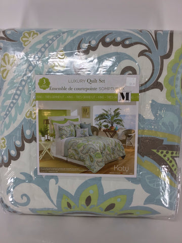 Quilt 3pc Set K Katy Aqua