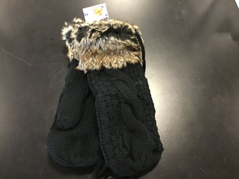 Knitted Fleece Lined Fur Mitten