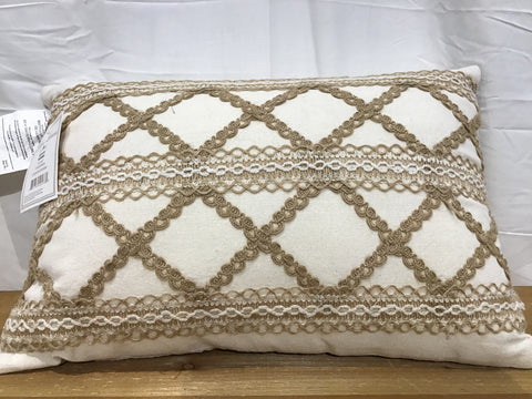 14x20 Pillow - Cream/Beige with Cord/Ribbon