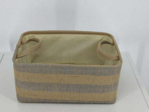 RECT. JUTE STRIPED BASKET WITH HANDLE (GRAY/NAT)