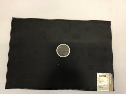 Harman Faux Leather Placemat, Black and Tan