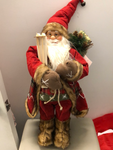 Santa Figure w/Skis and Poles w/ Bag of Presents 24H