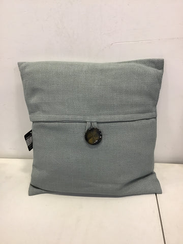 Solid Woven Cushion w/ Button Dusty