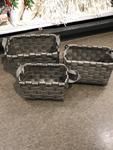 Rect. Nesting Basketweave Basket With Handle (Gray)