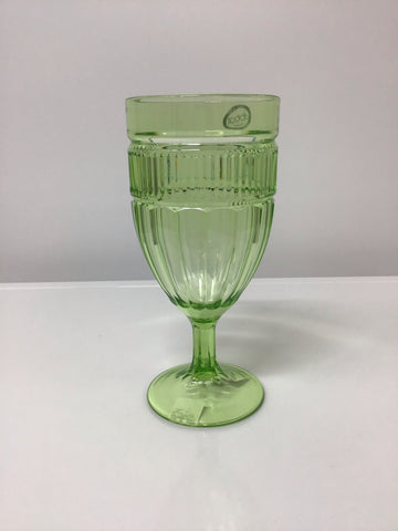 Set 6 Acrylic Panel Goblet Green 13oz
