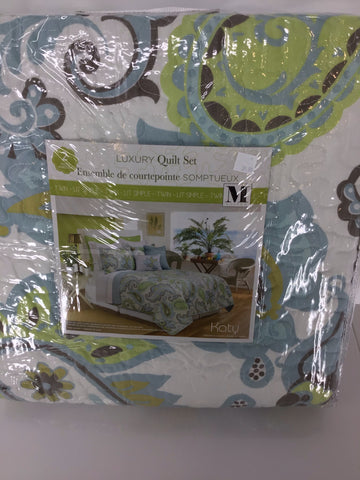 Quilt 2pc Set T Katy Aqua