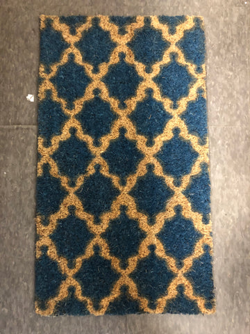 Flag Blue Geometric Pattern Coir Door Mat 28x16