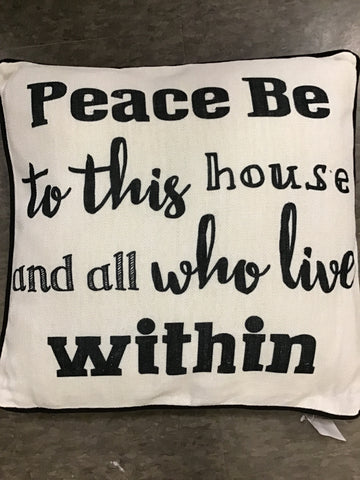 "16"" Square Pillow - Peace Be.. Polyester"