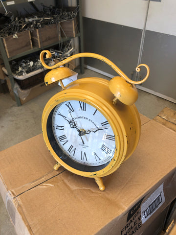Yellow Distressed Metal Faux Double Bell Table Clock