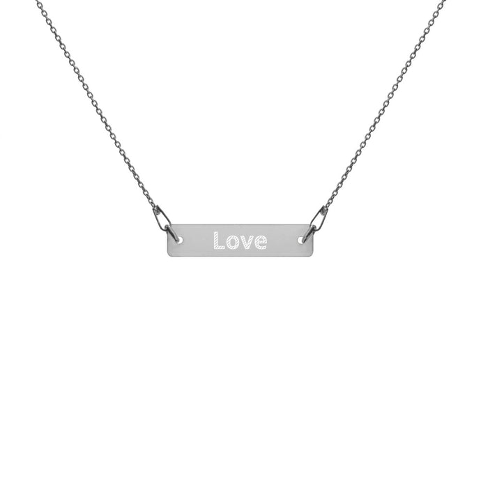 Love - Engraved Silver Bar Chain Necklace
