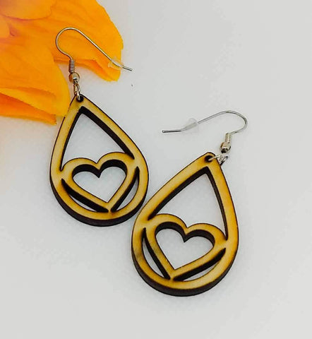 "Wooden ""Heart"" Teardrop Earrings"