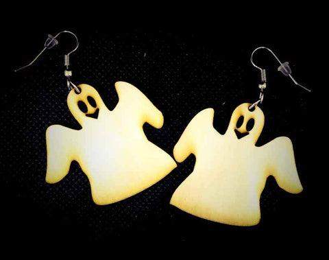 "Wooden ""Ghost"" Earrings"
