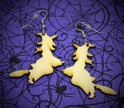 "Wooden ""Flying Witch"" Earrings"