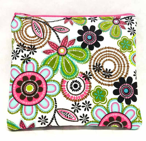"Medium ""Funky Flowers"" Zipper Pouch"
