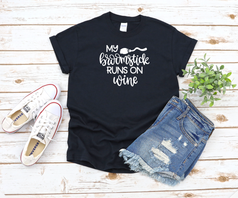 """Broomstick runs on Wine"" T-shirt"