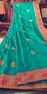 Beautiful designer fully embroidery silk saree