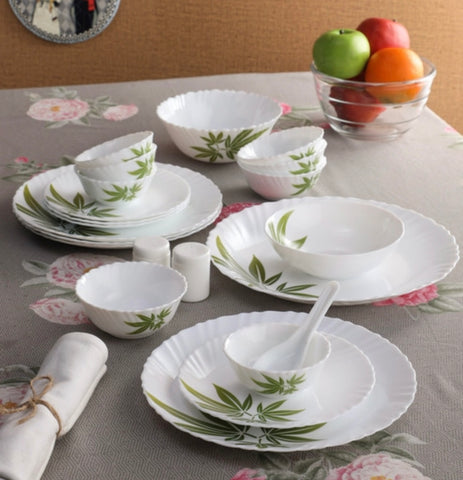 La Opala Trinity Green 29 Pcs Opalware Dinner Set - White