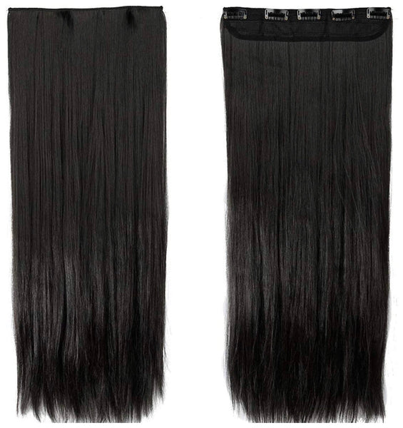 Pema Hair Extensions And Wigs Women's 5 Clip Hair Extension (Black, 20 Inch)